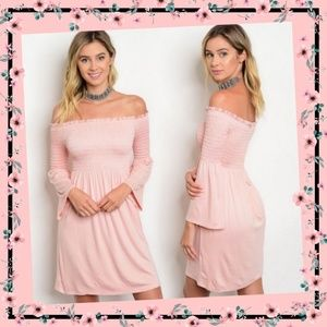 Beautiful Blush Pink off-shoulder bell sleeves